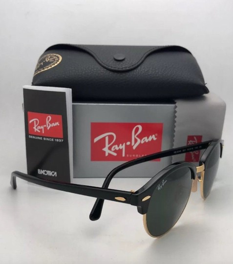 Ray-Ban New RAY-BAN Sunglasses CLUBROUND RB 4246 901 51-19 145 Black & Gold Image 1