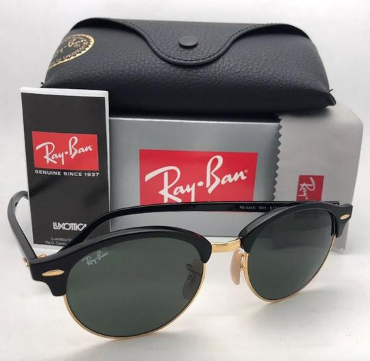 Ray-Ban New RAY-BAN Sunglasses CLUBROUND RB 4246 901 51-19 145 Black & Gold Image 10