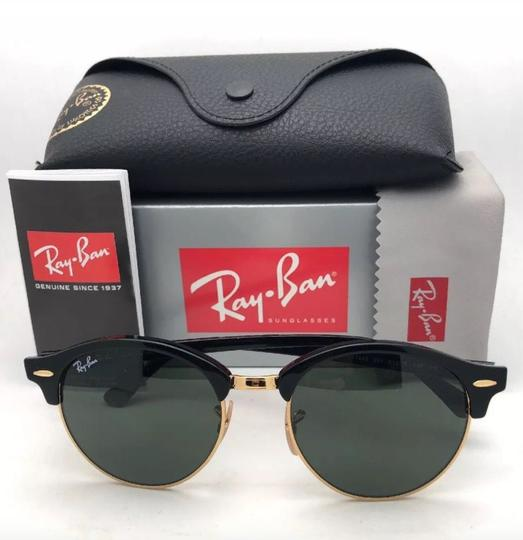 Ray-Ban New RAY-BAN Sunglasses CLUBROUND RB 4246 901 51-19 145 Black & Gold Image 11