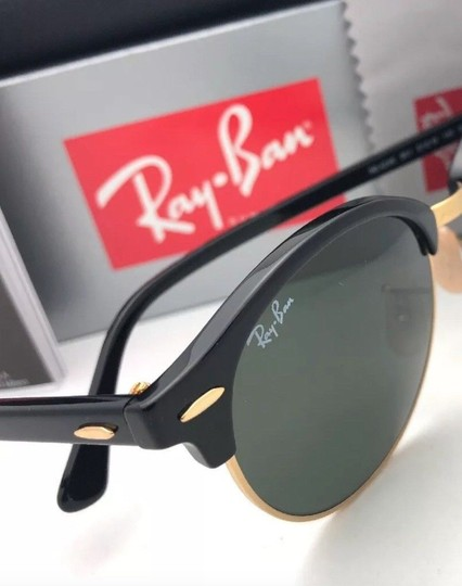 Ray-Ban New RAY-BAN Sunglasses CLUBROUND RB 4246 901 51-19 145 Black & Gold Image 2