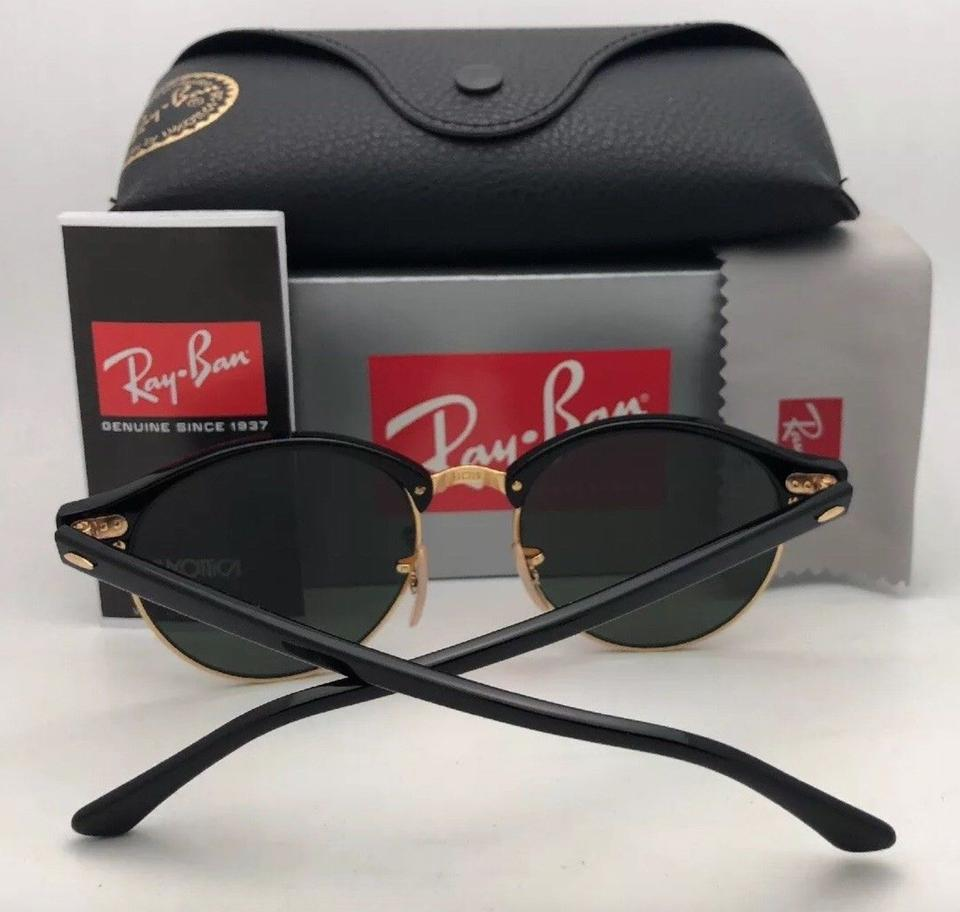 b4a1211eaae73 Ray-Ban New Clubround Rb 4246 901 51-19 145 Black   Gold W Green Lens  Sunglasses - Tradesy