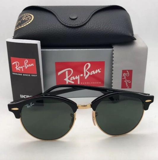 Ray-Ban New RAY-BAN Sunglasses CLUBROUND RB 4246 901 51-19 145 Black & Gold Image 6