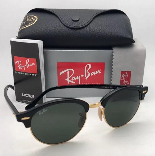 Ray-Ban New RAY-BAN Sunglasses CLUBROUND RB 4246 901 51-19 145 Black & Gold Image 7