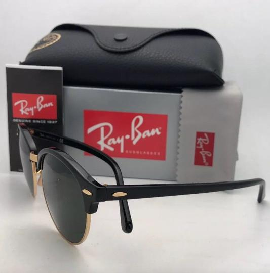 Ray-Ban New RAY-BAN Sunglasses CLUBROUND RB 4246 901 51-19 145 Black & Gold Image 8