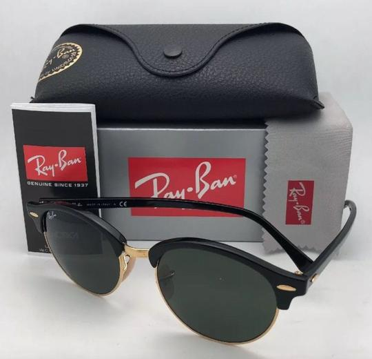 Ray-Ban New RAY-BAN Sunglasses CLUBROUND RB 4246 901 51-19 145 Black & Gold Image 9
