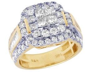 Jewelry Unlimited Bridal 14K Yellow Gold Princess Cut Halo Real Diamond Ring 2.40CT