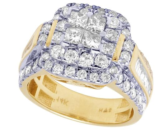 Jewelry Unlimited Bridal 14K Yellow Gold Princess Cut Halo Real Diamond Ring 2.40CT Image 2