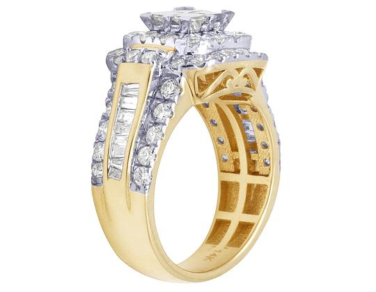 Jewelry Unlimited Bridal 14K Yellow Gold Princess Cut Halo Real Diamond Ring 2.40CT Image 3