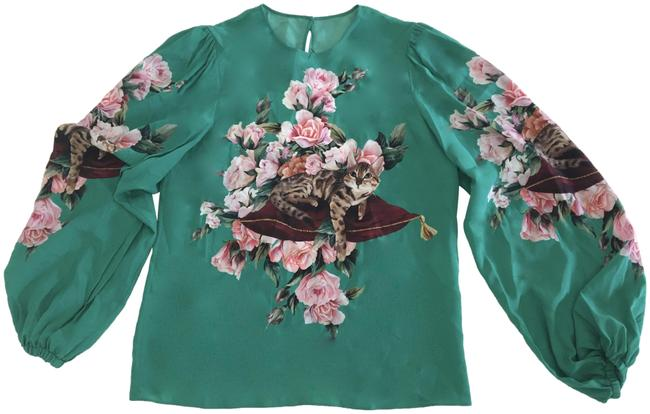 Preload https://img-static.tradesy.com/item/24198379/dolce-and-gabbana-green-bengali-cat-and-roses-print-blouse-size-4-s-0-1-650-650.jpg