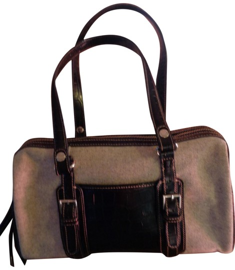 Preload https://img-static.tradesy.com/item/24198423/liz-claiborne-fabric-simulated-trim-handles-bottom-of-beige-with-black-fibers-faux-leather-satchel-0-1-540-540.jpg