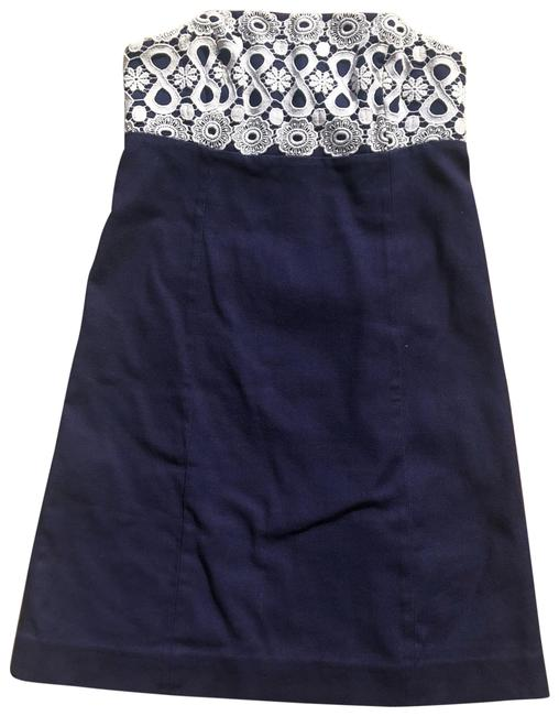 Preload https://img-static.tradesy.com/item/24198459/lilly-pulitzer-navy-and-white-lace-strapless-crisp-linen-cotton-mid-length-cocktail-dress-size-4-s-0-1-650-650.jpg