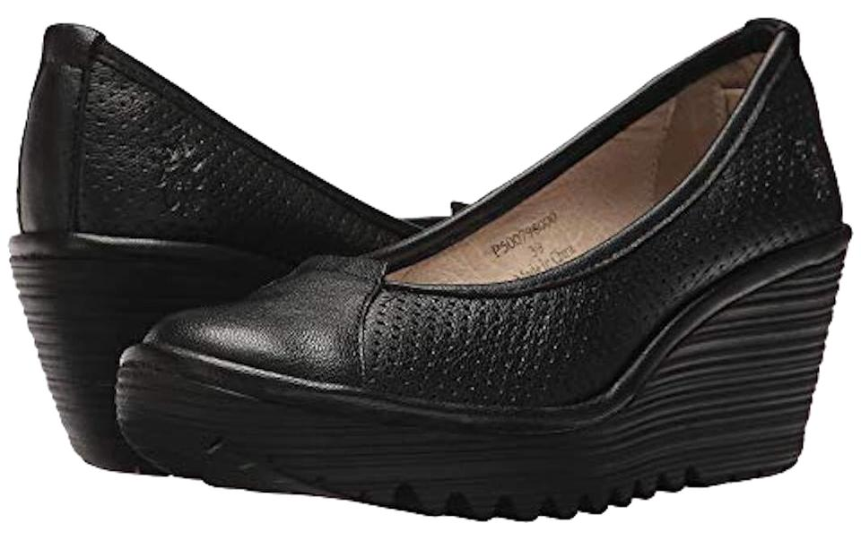 012d9e47f1bed FLY London Black Yuzi Perforated Leather Wedges Size EU 38 (Approx ...