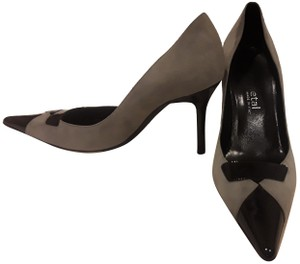 Gunmetal Patent Leather Suede Gray Pumps