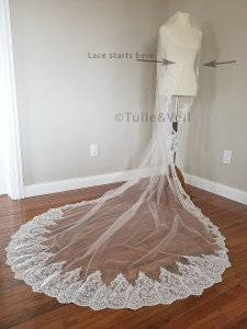 Ivory Long Cathedral Lace - Katie Bridal Veil
