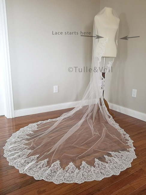 Unbranded Ivory Long Cathedral Lace - Katie Bridal Veil Unbranded Ivory Long Cathedral Lace - Katie Bridal Veil Image 1