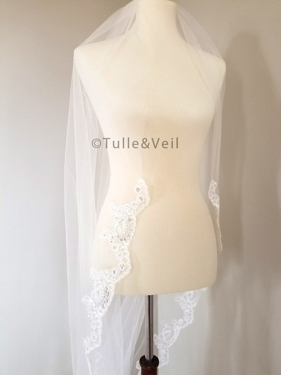 Ivory Long Cathedral Lace - Katie Bridal Veil Image 3