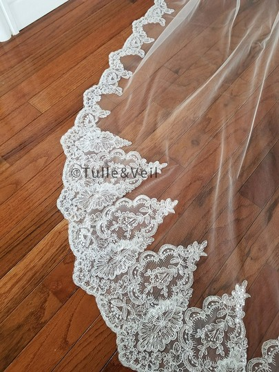 Ivory Long Cathedral Lace - Katie Bridal Veil Image 4