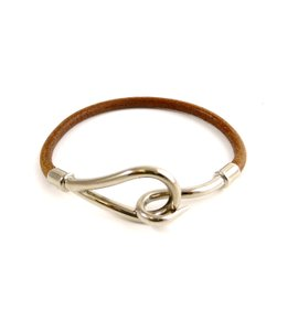 Hermès Stainless Steel Brown Leather H Hook Single Tour Bracelet France