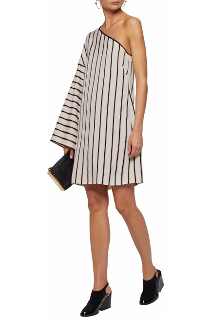 Item - Ivory Black Beige Made In Italy Striped One Shoulder Mid-length Night Out Dress Size 4 (S)
