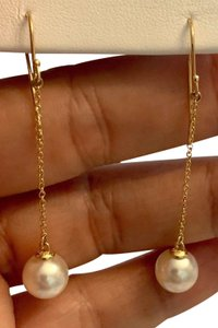 Estate CERTIFIED 795 Estate Ladys Akoya Pearl 9.35 Mm 14Kt Earrings YG 21043
