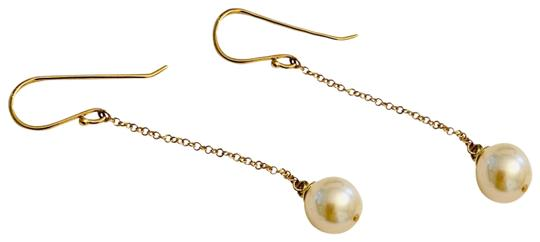 Estate CERTIFIED 499 Estate Akoya Pearl 8.40 Mm 14Kt Drop Earrings YG 21762 Image 1