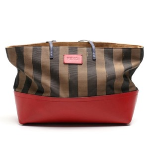 Fendi Leather Canvas Designer Tote in Brown and red
