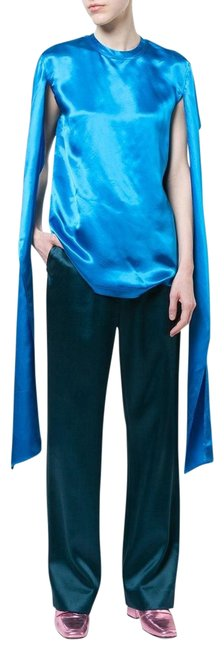 Item - Metallic Blue Silk with Long Blouse Size 4 (S)