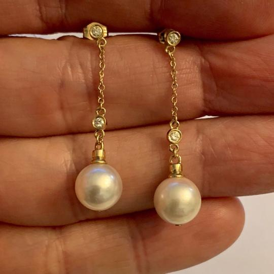Estate CERTIFIED 1199 Estate Akoya Pearl & Diamond 9.4Mm 14Kt Earring 21760 Image 1