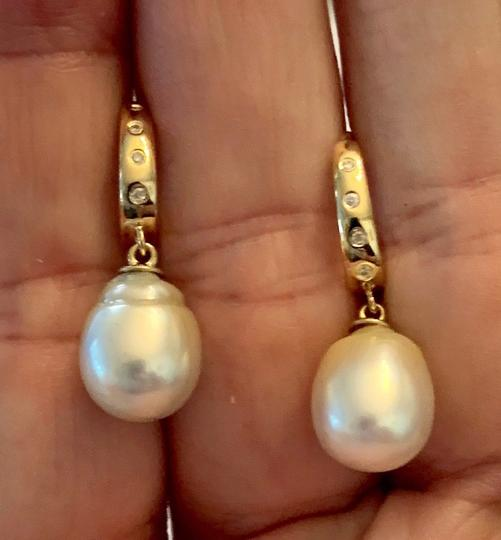 Estate CERTIFIED 1590 South Sea Pearl & Diamond 12.58 Mm 14Kt Earrings 13901 Image 4