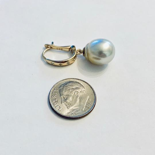 Estate CERTIFIED 1590 South Sea Pearl & Diamond 12.58 Mm 14Kt Earrings 13901 Image 5