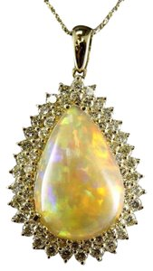 Other Pear Fire Opal & Diamond Halo Solitaire Lady's Pendant 14k YG 17.54Ct