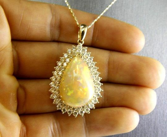 Other Pear Fire Opal & Diamond Halo Solitaire Lady's Pendant 14k YG 17.54Ct Image 2