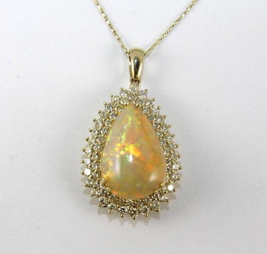 Other Pear Fire Opal & Diamond Halo Solitaire Lady's Pendant 14k YG 17.54Ct Image 3