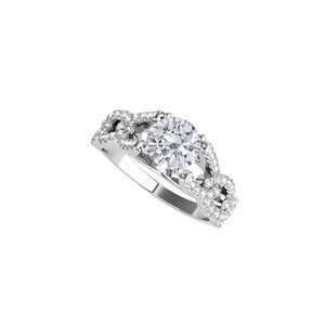 DesignByVeronica Prong Set CZ Criss Cross Ring in 925 Sterling Silver