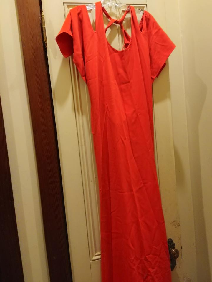 b94576fa64b Roland Mouret Red Wing Sleeve Cutout Back Long Night Out Dress Size 8 (M) -  Tradesy