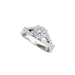 DesignByVeronica Criss Cross CZ Engagement Ring in 925 Sterling Silver