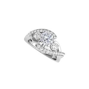 DesignByVeronica Round Shaped CZ Engagement Ring in 925 Sterling Silver