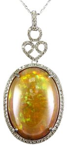 Other Oval Fire Opal & Diamond Halo Solitaire Lady's Pendant 14k WG 27.30Ct
