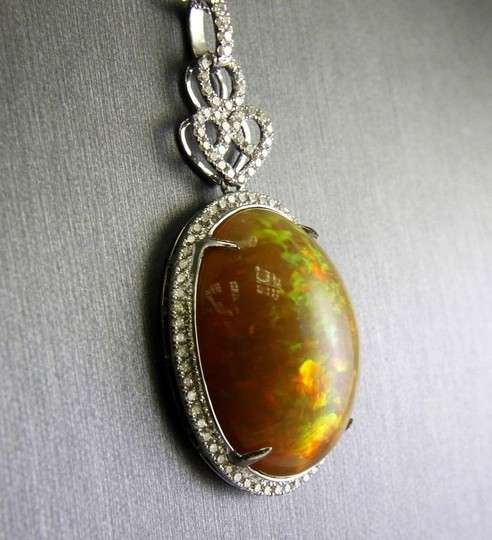Other Oval Fire Opal & Diamond Halo Solitaire Lady's Pendant 14k WG 27.30Ct Image 2