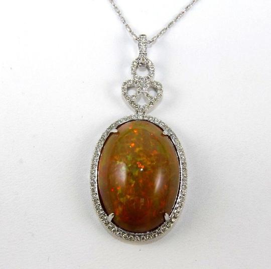 Other Oval Fire Opal & Diamond Halo Solitaire Lady's Pendant 14k WG 27.30Ct Image 4
