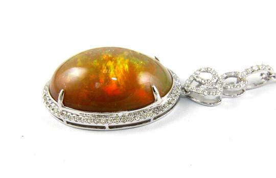 Other Oval Fire Opal & Diamond Halo Solitaire Lady's Pendant 14k WG 27.30Ct Image 5