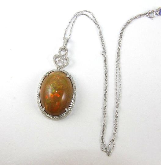 Other Oval Fire Opal & Diamond Halo Solitaire Lady's Pendant 14k WG 27.30Ct Image 6