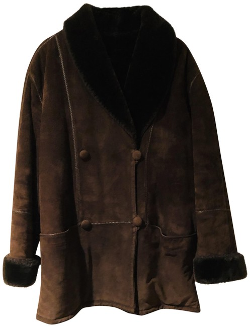 Item - Brown Suede Double Breasted Large Coat Size 14 (L)