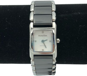 PANDORA Pandora facets watch with black ceramic and stainless steel band