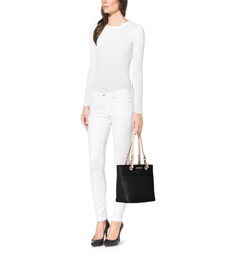 Michael Kors Coach Leather Turnlock Chain White Tote in Black Image 2