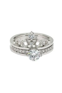 Ocean Fashion Noble crystal crown silver ring