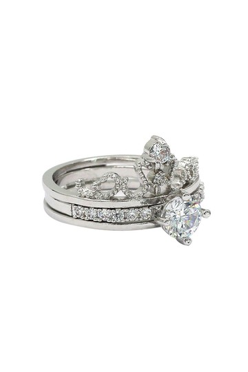 Ocean Fashion Noble crystal crown silver ring Image 3