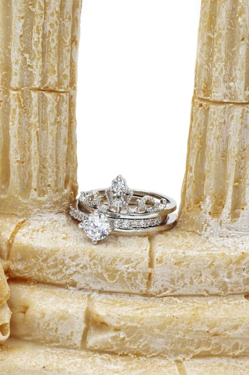 Ocean Fashion Noble crystal crown silver ring Image 5