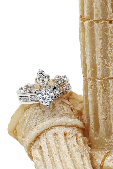 Ocean Fashion Noble crystal crown silver ring Image 6