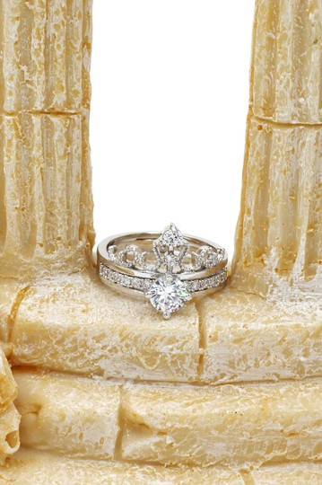 Ocean Fashion Noble crystal crown silver ring Image 7